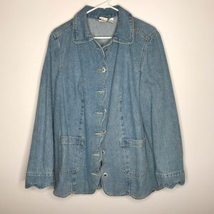 Roaman's vintage light jean jacket scallop hem 16W